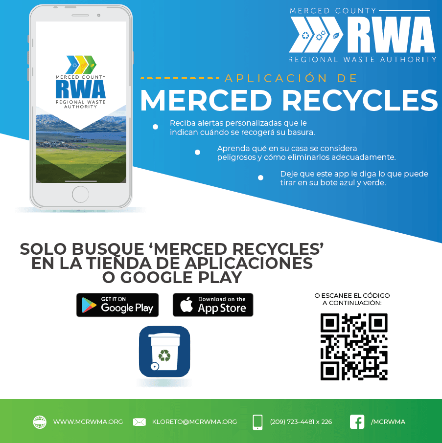 Merced Recycels app graphic Spanish